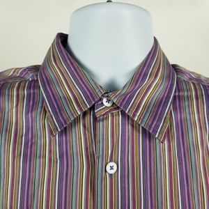 Bugatchi Uomo Multi Color Striped Dress Shirt